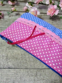 Kosmetiktäschchen Baumwolle rosa hellblau Reißverschluss Spitze - MONDSPINNE