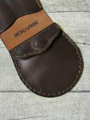 Börse Portemonnaie Schafnappaleder braun messing Druckknopf Jarne - MONDSPINNE