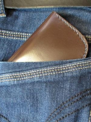 Olov Börse Portemonnaie 105x80mm geöffnet170mm Schafnappaleder braun dunkelblau - MONDSPINNE