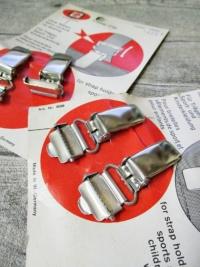 Hosenträger-Clips Verschluss Metall silber 2 Stück Rheinnadel - MONDSPINNE