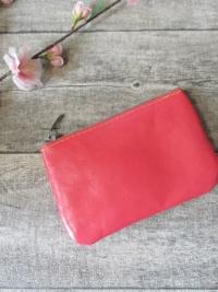 Mini-Börse Portemonnaie pink beige Ziegenleder - MONDSPINNE