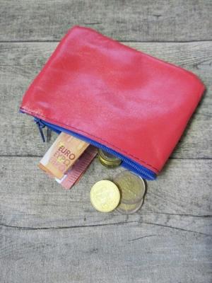 Mini-Börse Portemonnaie pink blau Ziegenleder - MONDSPINNE