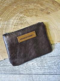 Mini-Börse Portemonnaie dunkelbraun Reißverschluss Rindsleder - MONDSPINNE