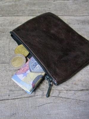 Mini-Börse Portemonnaie dunkelbraun grau Rindsleder - MONDSPINNE