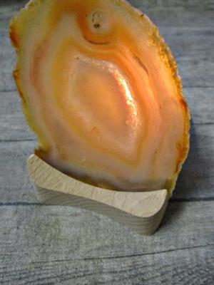 eelicht Holzständer Achatscheibe honiggelb hellgrau