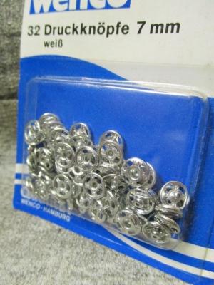 Druckknöpfe 32 Stück 7 mm silber Metall Wenco