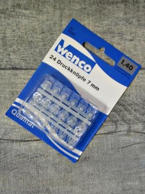 Druckknöpfe Kunststoff transparent 24 Stück 7 mm Wenco