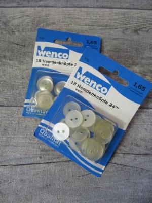Hemdenknöpfe 18 Stück 15mm gelblich-perlmutt Kunststoff Wenco - Mondspinne