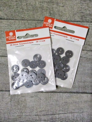 Hemdenknöpfe 20 Stück 11 mm anthrazit Polyesterknöpfe KRILA