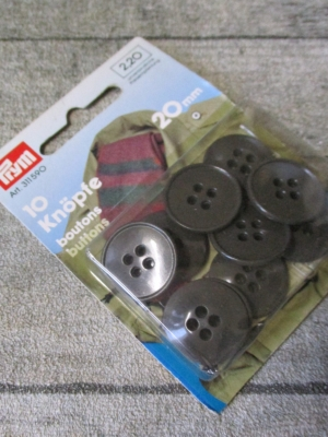 Knöpfe 10 Stück 20 mm braun Kunststoff Prym