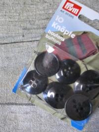 Knöpfe 10 Stück 20 mm schwarz Kunststoff Prym