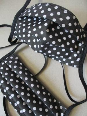 Gesichtsmaske Baumwolle Pünktchen schwarz weiß