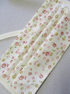 Gesichtsmaske Stoffmaske Behelfsmaske Streublumen creme rot grün Baumwolle