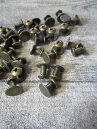 Schraubnieten Gürtelschrauben altmessing Metall 10x6mm - MONDSPINNE