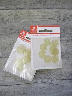Hemdenknöpfe Polyesterknöpfe Krila gelblich-transparent 15mm 9Stk - Mondspinne