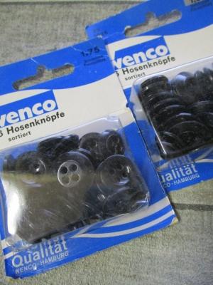 Hosenknöpfe Wenco Kunststoff sortiert 26 Stk groß klein - Mondspinne