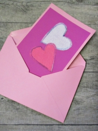 Grußkarte Klappkarte 2_Herzen pink-rosa - MONDSPINNE