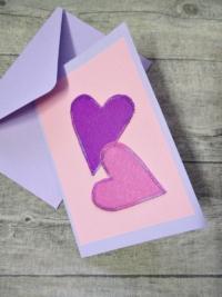 Grußkarte Klappkarte 2_Herzen rosa-lila - MONDSPINNE
