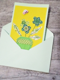 Grußkarte Klappkarte Blumenstrauß gelb-hellgrün - MONDSPINNE