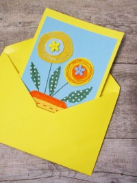 Grußkarte Klappkarte Blumenstrauß hellblau-gelb - MONDSPINNE