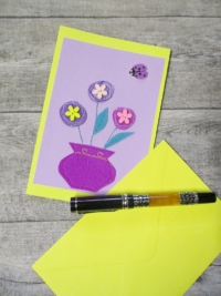 Grußkarte Klappkarte Blumenstrauß lila-gelb - MONDSPINNE