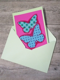Grußkarte Klappkarte Schmetterlinge pink-mint - MONDSPINNE
