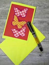 Grußkarte Klappkarte Schmetterlinge rot-gelb - MONDSPINNE