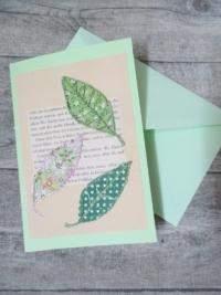 Grußkarte Klappkarte Blätter natur-mint - Mondspinne
